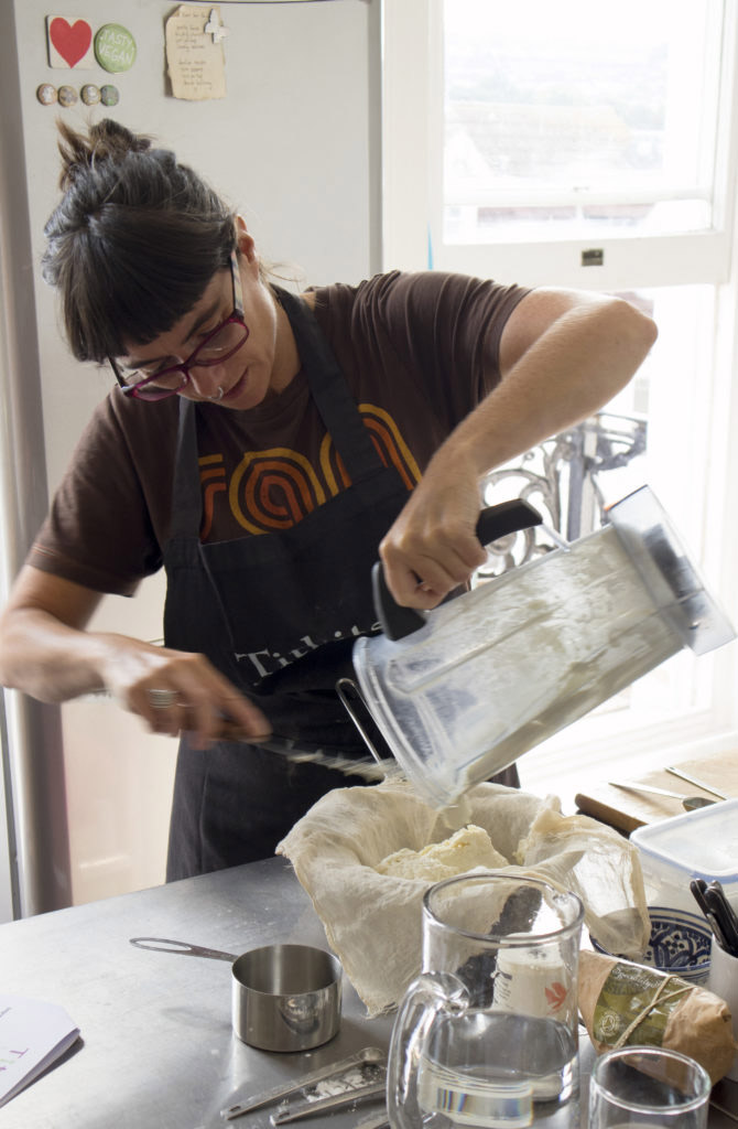 Paula from Titbits Catering making cashew cheese