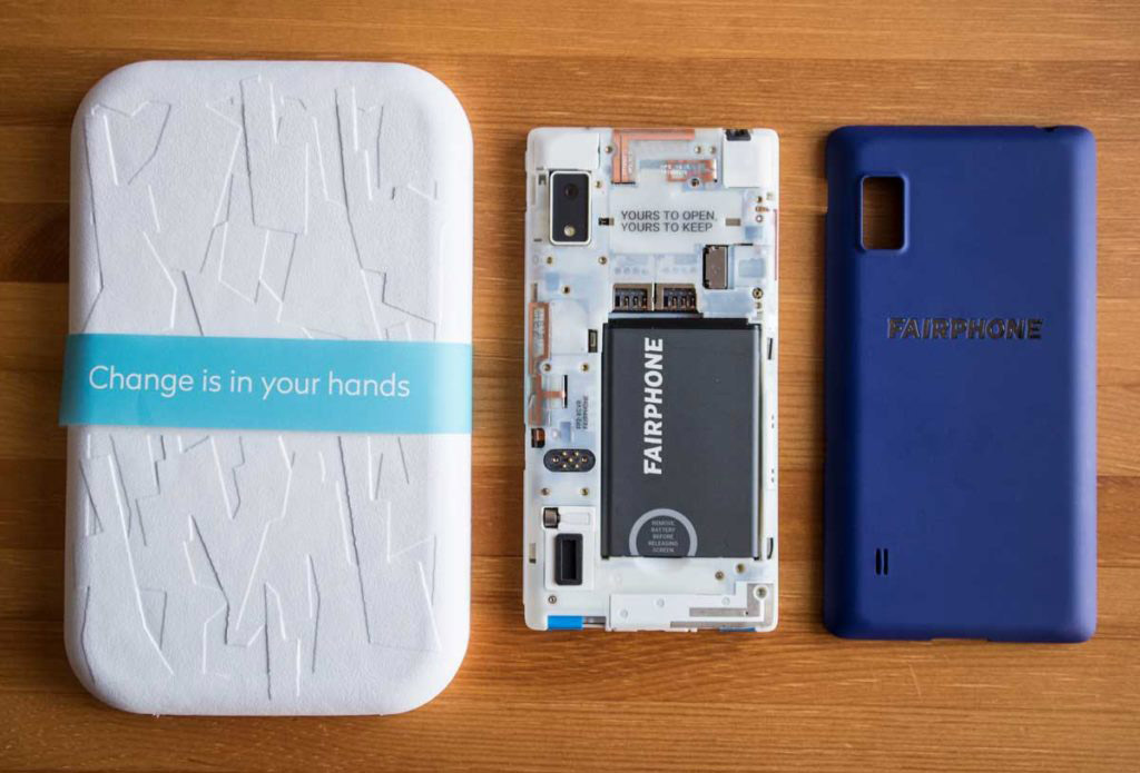 Fairphone 2 with the cover off