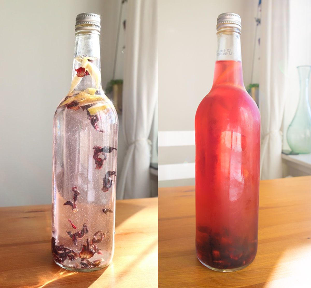 Cold Brew Hibiscus Tea by Salad or Chips